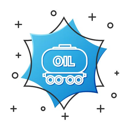 White line Oil railway cistern icon isolated on white background. Train oil tank on railway car. Rail freight. Oil industry. Blue hexagon button. Vector Illustration