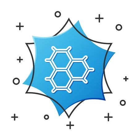 White line Chemical formula consisting of benzene rings icon isolated on white background. Blue hexagon button. Vector Illustration  イラスト・ベクター素材