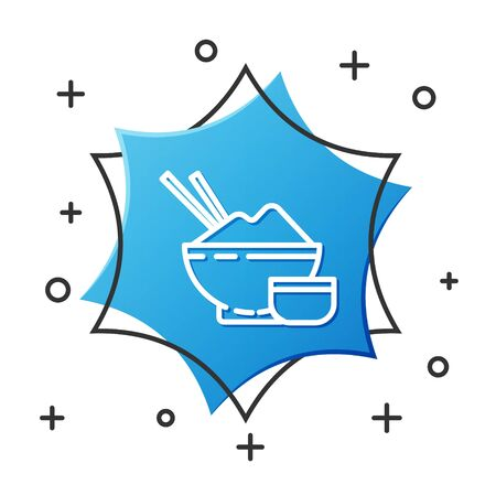 White line Rice in a bowl with chopstick and sauce icon isolated on white background. Traditional Asian food. Blue hexagon button. Vector Illustration