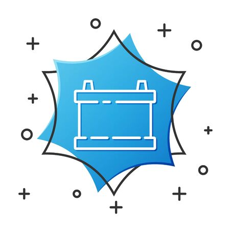 White line Car battery icon isolated on white background. Accumulator battery energy power and electricity accumulator battery. Blue hexagon button. Vector Illustration