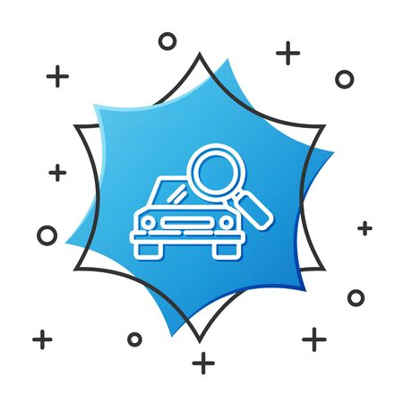 White line Car search icon isolated on white background. Magnifying glass with car. Blue hexagon button. Vector Illustration Illusztráció