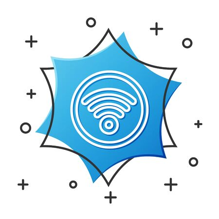 White line WiFi wireless internet network symbol icon isolated on white background. Blue hexagon button. Vector Illustration