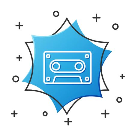 White line Retro audio cassette tape icon isolated on white background. Blue hexagon button. Vector Illustration