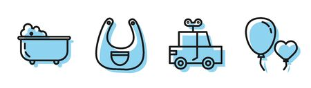 Set line Toy car, Baby bathtub, Baby bib and Balloons in form of heart icon. Vector Vectores