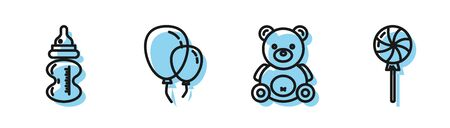 Set line Teddy bear plush toy, Baby bottle, Balloons with ribbon and Lollipop icon. Vector