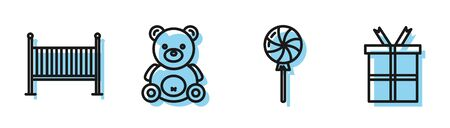 Set line Lollipop, Baby crib cradle bed, Teddy bear plush toy and Gift box icon. Vector