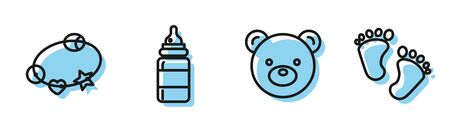 Set line Teddy bear plush toy, Rattle baby toy, Baby bottle and Baby footprints icon. Vector Stock fotó - 140318212