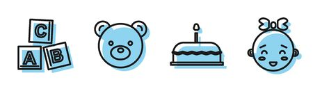 Set line Cake with burning candles, ABC blocks, Teddy bear plush toy and Happy little girl head icon. Vector