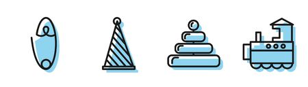 Set line Pyramid toy, Classic steel safety pin, Party hat and Toy train icon. Vector