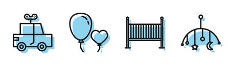 Set line Baby crib cradle bed, Toy car, Balloons in form of heart and Baby crib hanging toys icon. Vector