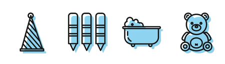 Set line Baby bathtub, Party hat, Wax crayons for drawing and Teddy bear plush toy icon. Vector