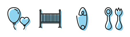 Set line Classic steel safety pin, Balloons in form of heart, Baby crib cradle bed and Baby cutlery with fork and spoon icon. Vector Ilustrace