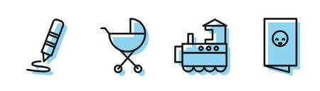 Set line Toy train, Wax crayon for drawing, Baby stroller and Baby shower invitations card, poster icon. Vector