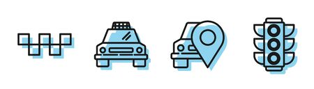 Set line Map pointer with taxi, Taxi car roof, Taxi car and Traffic light icon. Vector Standard-Bild - 140283908