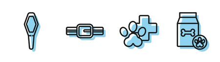 Set line Veterinary clinic symbol, Pets vial medical, Collar with name tag and Bag of food for pet icon. Vector