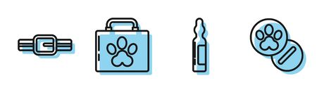 Set line Pets vial medical, Collar with name tag, Pet first aid kit and Dog and pills icon. Vector Illusztráció