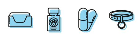 Set line Dog and pills, Pet bed, Dog medicine bottle and pills and Collar with name tag icon. Vector Illusztráció