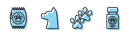 Set line Paw print, Bag of food for pet, Cat and Dog medicine bottle and pills icon. Vector Vettoriali
