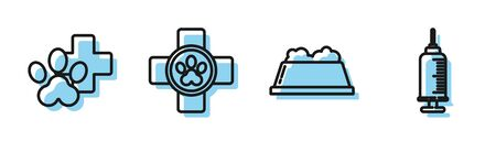 Set line Pet food bowl, Veterinary clinic symbol, Veterinary clinic symbol and Syringe with pet vaccine icon. Vector