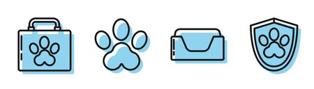 Set line Pet bed, Pet first aid kit, Paw print and Animal health insurance icon. Vector Vettoriali