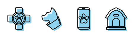 Set line Online veterinary clinic symbol, Veterinary clinic symbol, Cat and Dog house icon. Vector