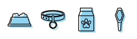 Set line Bag of food for pet, Pet food bowl, Collar with name tag and Pets vial medical icon. Vector Illusztráció