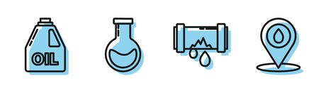 Set line Broken metal pipe with leaking water, Canister for motor machine oil, Test tube and flask and Refill petrol fuel location icon. Vector Stock Illustratie