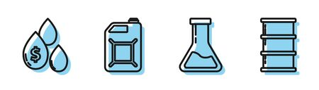 Set line Test tube and flask, Oil drop with dollar symbol, Canister for gasoline and Barrel oil icon. Vector