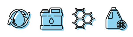 Set line Chemical formula consisting of benzene rings, Oil drop, Canister for motor machine oil and Antifreeze canister icon. Vector