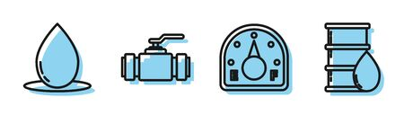 Set line Motor gas gauge, Oil drop, Industry metallic pipes and valve and Barrel oil icon. Vector