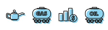 Set line Pie chart infographic and dollar, Canister for motor machine oil, Gas railway cistern and Oil railway cistern icon. Vector