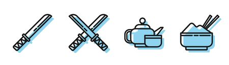 Set line Japanese tea ceremony, Traditional Japanese katana, Traditional Japanese katana and Rice in a bowl with chopstick icon. Vector
