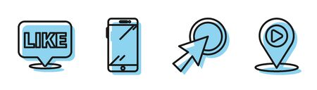 Set line Arrow cursor, Like in speech bubble, Smartphone, mobile phone and Digital media play with location icon. Vector Ilustracja