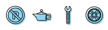 Set line Wrench, No Parking or stopping, Canister for motor machine oil and Car wheel icon. Vector