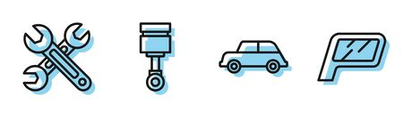 Set line Car, Wrench, Engine piston and Car mirror icon. Vector