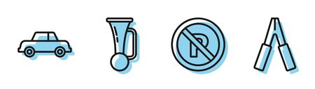 Set line No Parking or stopping, Car, Signal horn on vehicle and Car battery jumper power cable icon. Vector