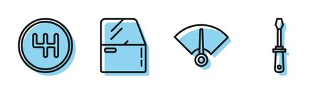 Set line Speedometer, Gear shiftier, Car door and Screwdriver icon. Vector