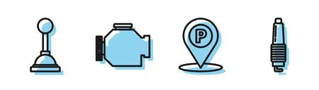 Set line Location with parking, Gear shifter, Check engine and Car spark plug icon. Vector