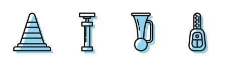 Set line Signal horn on vehicle, Traffic cone, Car air pump and Car key with remote icon. Vector  イラスト・ベクター素材