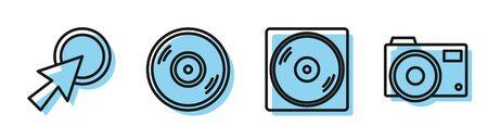 Set line Vinyl disk, Arrow cursor, Vinyl disk and Photo camera icon. Vector
