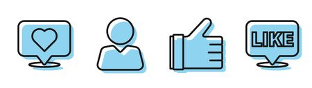 Set line Hand like, Like and heart, Add to friend and Like in speech bubble icon. Vector
