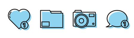 Set line Photo camera, Like and heart, Document folder and Speech bubble chat icon. Vector