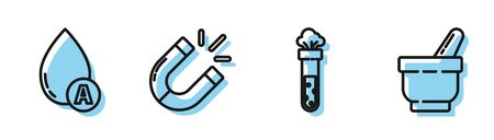 Set line Test tube and flask chemical, Water drop, Magnet and Mortar and pestle icon. Vector