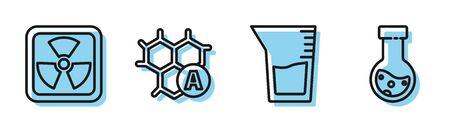 Set line Laboratory glassware or beaker, Radioactive, Chemical formula and Test tube and flask chemical icon. Vector Illusztráció