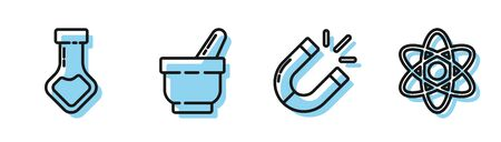 Set line Magnet, Test tube and flask chemical, Mortar and pestle and Atom icon. Vector Ilustrace