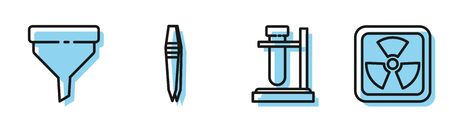 Set line Test tube flask on stand, Funnel or filter, Tweezers and Radioactive icon. Vector