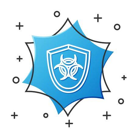 White line Biohazard symbol on shield icon isolated on white background. Blue hexagon button. Vector Illustration