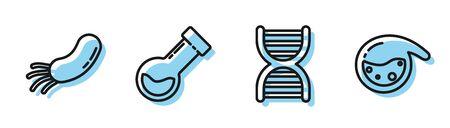 Set line DNA symbol, Bacteria, Test tube and flask chemical and Test tube and flask chemical icon. Vector Vektoros illusztráció