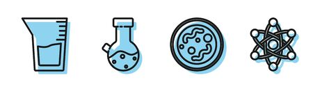 Set line Bacteria, Laboratory glassware or beaker, Test tube and flask chemical and Atom icon. Vector Illusztráció