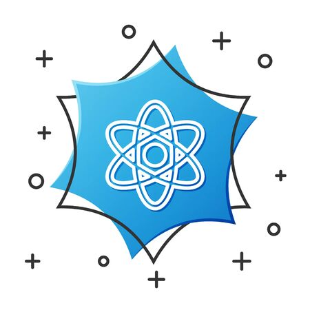 White line Atom icon isolated on white background. Symbol of science, education, nuclear physics, scientific research. Blue hexagon button. Vector Illustration